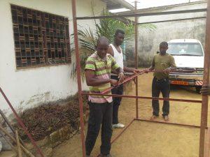 Putting together the platform for solar panels