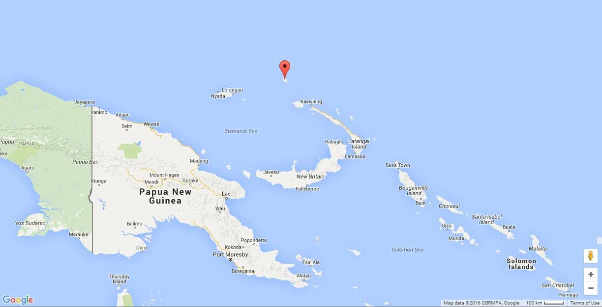 The Nies and Brownies traveled from Kavieng, located on the northern tip of New Ireland to Mussau Island, located at red indicator on the map.