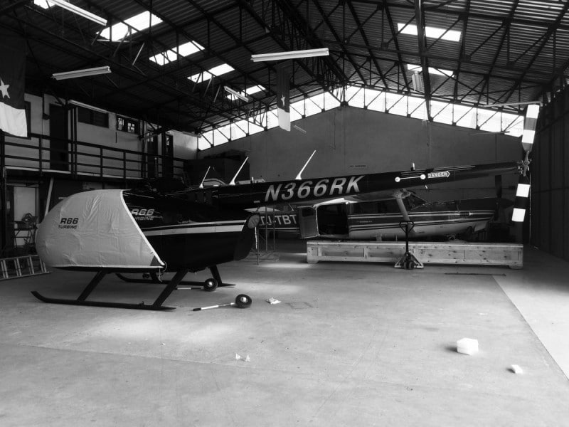 R66 in hangar after being unloaded from container