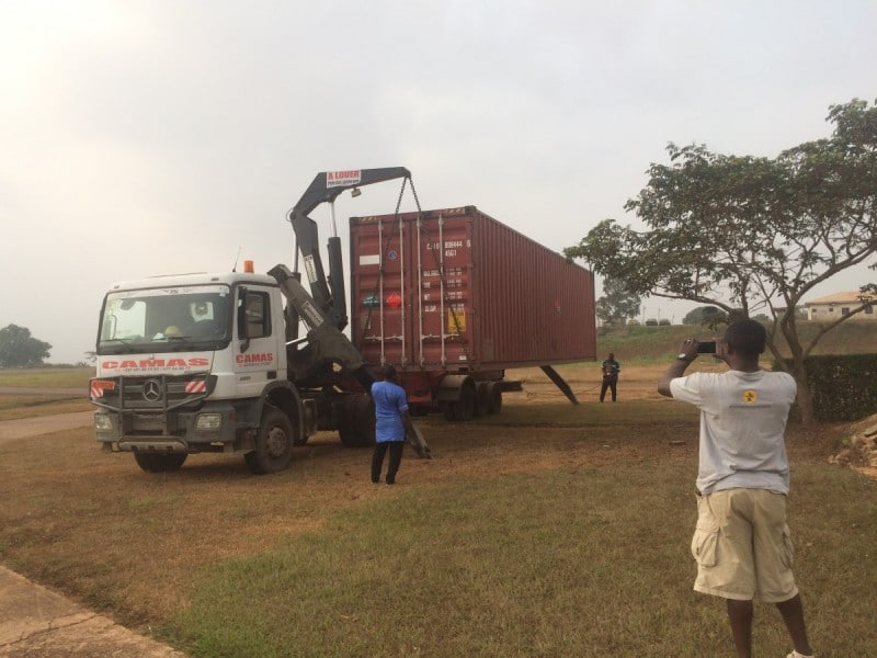 Container with R66 arrives at the hangar in Yaounde