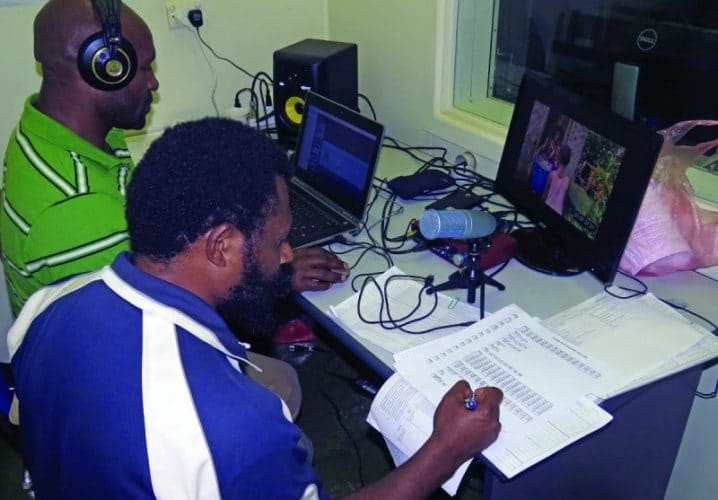 "Media specialists in training strive to make sure that the dubbed voices match the actors' movements in the video, ""O Papa God."" Local languages help the videos to be understood and promote community health through God's Word."