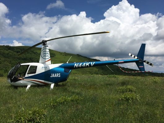 The JAARS R44 training helicopter in the Blue Ridge mountains of North Carolina